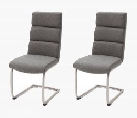 2 x Stuhl Kamala in Grau Strukturgewebe und Kunstleder Freischwinger Edelstahl Rundrohr Esszimmerstuhl 2er Set