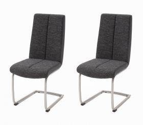 2 x Stuhl Kamala in Schwarz Strukturgewebe und Kunstleder Freischwinger Edelstahl Rundrohr Esszimmerstuhl 2er Set