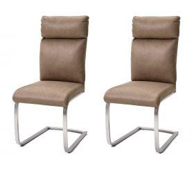 2 x Stuhl Rabea in Sand Vintage Lederlook und Edelstahl Freischwinger mit Griff hinten Esszimmerstuhl 2er Set