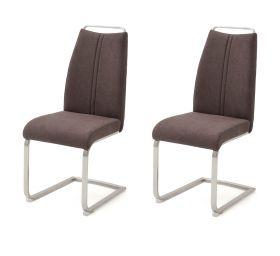 2 x Stuhl Giulia in Braun Feingewebe und Edelstahl Freischwinger mit Griffleiste Flachrohr Esszimmerstuhl 2er Set