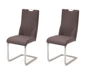 2 x Stuhl Giulia in Braun Nubuklederoptik und Edelstahl Freischwinger mit Griffloch Flachrohr Esszimmerstuhl 2er Set
