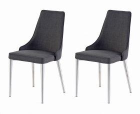 2 x Stuhl Elara in Grau Feingewebe und Edelstahl 4-Fuß konisch Rundrohr Esszimmerstuhl 2er Set