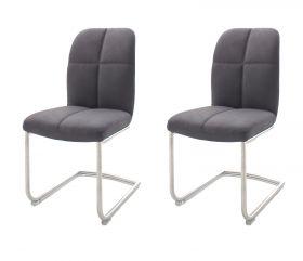 2 x Stuhl Tessera in Grau Kunstleder und Freischwinger Edelstahl Esszimmerstuhl 2er Set