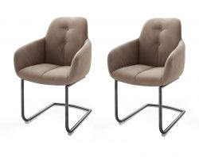 2 x Stuhl mit Armlehne Tessera in Schlamm Kunstleder und Freischwinger Anthrazit lackiert Esszimmerstuhl 2er Set Clubsessel