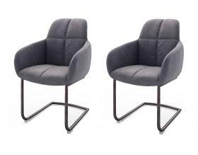 2 x Stuhl mit Armlehne Tessera in Grau Kunstleder und Freischwinger Anthrazit lackiert Esszimmerstuhl 2er Set Clubsessel