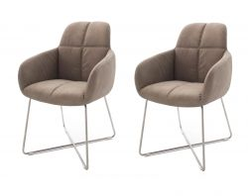 2 x Stuhl mit Armlehne Tessera in Schlamm Kunstleder und X-Kufen Gestell Edelstahl Esszimmerstuhl 2er Set Clubsessel