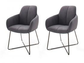 2 x Stuhl mit Armlehne Tessera in Grau Kunstleder und X-Kufen Gestell Anthrazit lackiert Esszimmerstuhl 2er Set Clubsessel