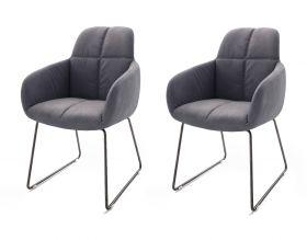 2 x Stuhl mit Armlehne Tessera in Grau Kunstleder und Kufengestell Anthrazit lackiert Esszimmerstuhl 2er Set Clubsessel