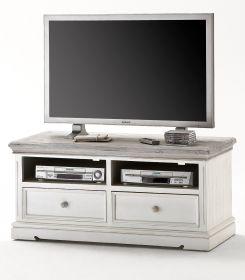 TV-Lowboard Opus in Kiefer weiß und Sand Massivholz recycelt Landhaus TV-Unterteil Used Wood 121 x 56 cm Fernsehtisch
