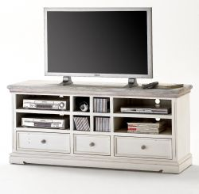 TV-Lowboard Opus in Kiefer weiß und Sand Massivholz recycelt Landhaus TV-Unterteil Used Wood 163 x 72 cm Fernsehtisch