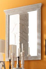 Spiegel Opus in Kiefer Sand Massivholz recycelt Landhaus Wandspiegel Used Wood 74 x 96 cm