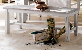 Sitzbank Opus in Kiefer weiß und Sand Massivholz recycelt Landhaus Küchenbank Used Wood 140 x 49 cm