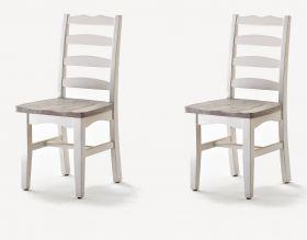 2 x Stuhl Opus in Kiefer weiß und Sand Massivholz recycelt Landhaus 4-Fuß Esszimmerstuhl Used Wood 2er Set