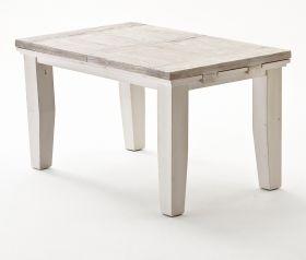 Esstisch Opus in Kiefer weiß und Sand Massivholz recycelt Landhaus Küchentisch Used Wood 140 / 180 x 90 cm ausziehbar
