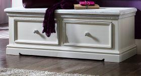 Garderobe Sitzbank Opus in Kiefer weiß und Sand Massivholz Landhaus Garderobenbank 120 x 45 cm Schuhbank