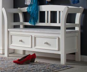 Garderobe Sitzbank Opus in Kiefer weiß und Sand Massivholz Landhaus Garderobenbank mit Lehne 120 x 80 cm