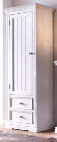 Garderobenschrank Opus in Kiefer weiß und Sand Massivholz Landhaus Schuhschrank 60 x 200 cm Türanschlag links