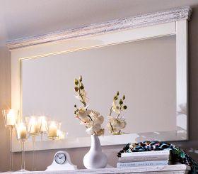 Garderobenspiegel Opus in Kiefer weiß und Sand Massivholz Landhaus Wandspiegel 124 x 75 cm