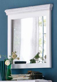 Garderobenspiegel Opus in Kiefer weiß und Sand Massivholz Landhaus Wandspiegel 80 x 75 cm