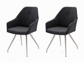 2 x Stuhl Madita in Anthrazit Kunstleder und Edelstahl 4-Fuß oval Esszimmerstuhl 2er Set Armlehnenstuhl Schalenstuhl