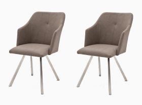 2 x Stuhl Madita in Taupe Kunstleder und Edelstahl 4-Fuß eckig Esszimmerstuhl 2er Set Armlehnenstuhl Schalenstuhl