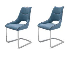 2 x Stuhl Aldrina in Petrol Filzoptik und Edelstahl Freischwinger Kantrohr Esszimmerstuhl 2er Set