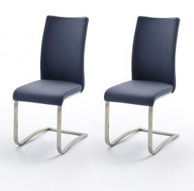 2 x Stuhl Arco in Nachtblau Leder und Edelstahl Freischwinger Flachrohr Esszimmerstuhl 2er Set
