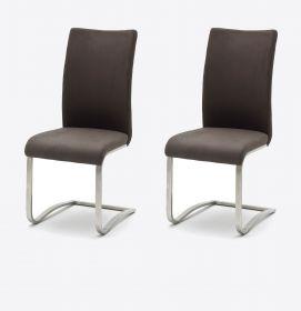 2 x Stuhl Arco in Braun Vintage Kunstleder und Edelstahl Freischwinger Flachrohr Esszimmerstuhl 2er Set Antiklook