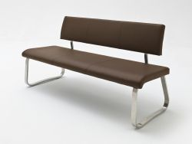 Sitzbank Arco in Braun Kunstleder und Edelstahl Flachrohr Küchenbank mit Kufengestell Polsterbank 175 cm