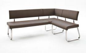 Eckbank Arco in Braun Leder und Edelstahl Flachrohr Küchenbank mit Kufengestell Sitzbank 200 x 150 cm