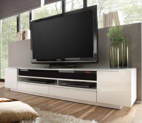 TV-Lowboard Canberra mit Soundsystem in Hochglanz weiß echt Lack Fernsehtisch inkl. Fernbedienung 196 x 41 cm