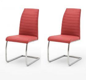 2 x Stuhl Flores in Rot Kunstleder und Edelstahl Freischwinger Rundrohr Esszimmerstuhl 2er Set