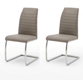 2 x Stuhl Flores in Taupe Kunstleder und Edelstahl Freischwinger Rundrohr Esszimmerstuhl 2er Set