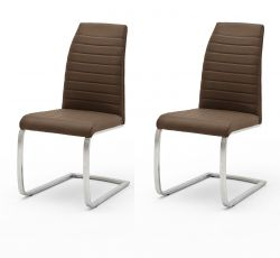 2 x Stuhl Flores in Braun Kunstleder und Edelstahl Freischwinger Flachrohr Esszimmerstuhl 2er Set