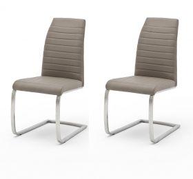 2 x Stuhl Flores in Taupe Kunstleder und Edelstahl Freischwinger Flachrohr Esszimmerstuhl 2er Set