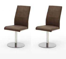2 x Stuhl Flores in Braun Kunstleder und Edelstahl Tellerfuß 360° drehbar Esszimmerstuhl 2er Set Drehstuhl