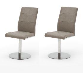 2 x Stuhl Flores in Taupe Kunstleder und Edelstahl Tellerfuß 360° drehbar Esszimmerstuhl 2er Set Drehstuhl