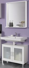 Badezimmer Badmöbel Set 2-teilig Florida weiß und Glas satiniert 65 x 188 cm Waschbeckenunterschrank und Badspiegel