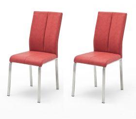 2 x Stuhl Flores in Rot Kunstleder und Edelstahl 4-Fuß Esszimmerstuhl 2er Set