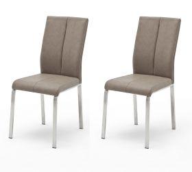 2 x Stuhl Flores in Taupe Kunstleder und Edelstahl 4-Fuß Esszimmerstuhl 2er Set