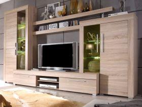 Wohnzimmer: Wohnwand Boom Sonoma Eiche hell, sägerau (310x215 cm) inkl. LED-Beleuchtung
