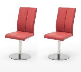 2 x Stuhl Flores in Rot Kunstleder und Edelstahl Tellerfuß 360° drehbar Esszimmerstuhl 2er Set Drehstuhl