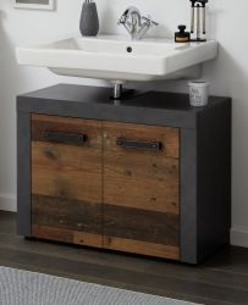 Badezimmer Waschbeckenunterschrank Cancun in Old Used Wood Design mit Matera grau Badmöbel 72 x 56 cm