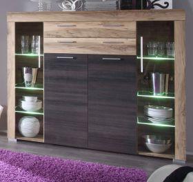 Wohnzimmer: Highboard Boom Nussbaum Satin, Touchwood dunkelbraun (160x137 cm) inkl. LED-Beleuchtung
