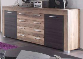 Wohnzimmer: Sideboard Boom Nussbaum Satin, Touchwood dunkelbraun (176x79 cm)