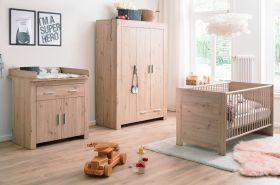 Babyzimmer Ahoi komplett Set 3-teilig in Artisan Eiche mit Wickelkommode Kleiderschrank und Babybett