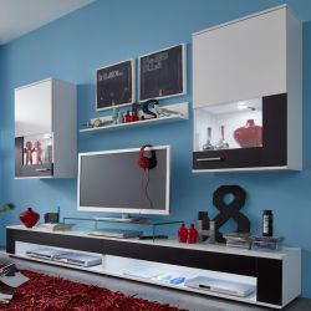 Wohnwand Corner in weiß und Absetzungen in schwarz Schrankwand 4-teilig 240 x 180 cm Anbauwand