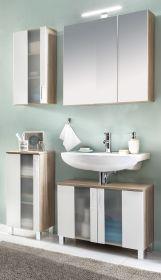 Badezimmer Badmöbel Set Porto in weiß und Eiche sägerau hell Badkombination 4-teilig mit Glas satiniert 113 x 191 cm