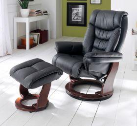 Relaxsessel Toronto in schwarz Leder und Walnuss mit Hocker Funktionssessel 87 x 106 cm Schlafsessel Fernsehsessel