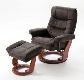 Relaxsessel Samone in dunkelbraun und Walnuss mit Hocker Funktionssessel bis 150 kg Schlafsessel Fernsehsessel